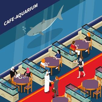 Composición isométrica del acuario de cafe