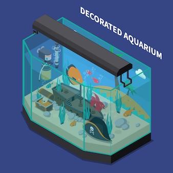 Composición isométrica del acuario decorado