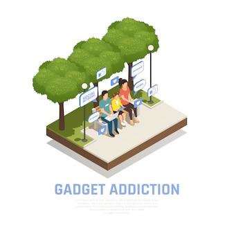 Composición isométrica de adicción a gadgets de teléfonos inteligentes de internet con imágenes de paisajes al aire libre y familia con pictogramas de burbujas de pensamiento ilustración vectorial