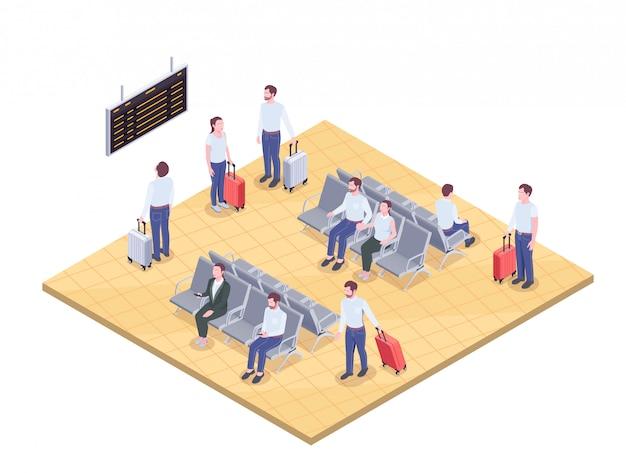 Composición isométrica del aeropuerto con imágenes de pasajeros en ambiente de salón con ilustración de vector de tablero de llegada y salida