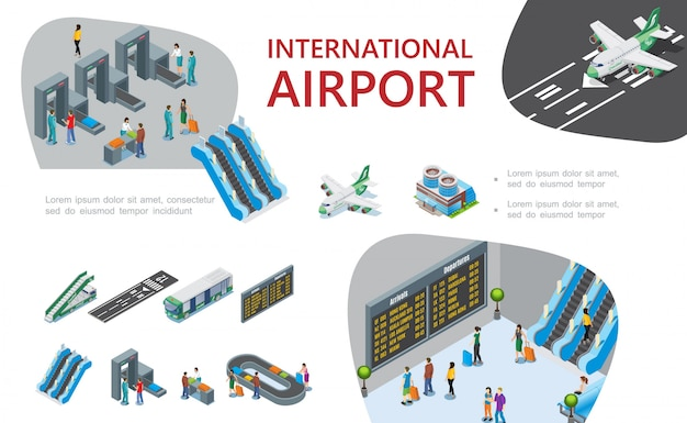 Composición isométrica del aeropuerto con pasajero personalizado y controles de pasaporte aeroplanos escaleras mecánicas de la aerolínea escalera de autobús a bordo del avión de salida cinta transportadora de equipaje