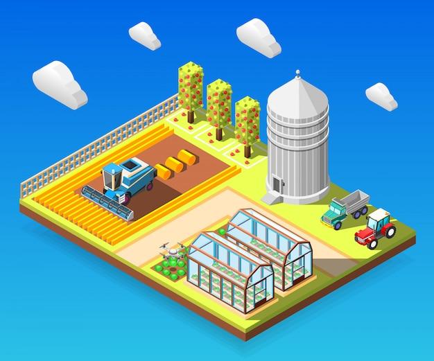 Composición isométrica agrícola