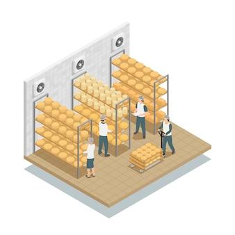 Composición isométrica de almacenamiento de tela de queso