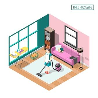 Composición isométrica ama de casa cansada con mujer en casa interior ocupado con tareas diarias