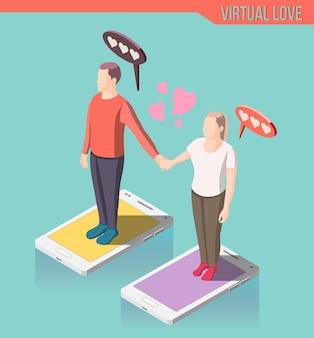 Composición isométrica de amor virtual, hombre y mujer de pie en la pantalla del teléfono inteligente y tomados de la mano