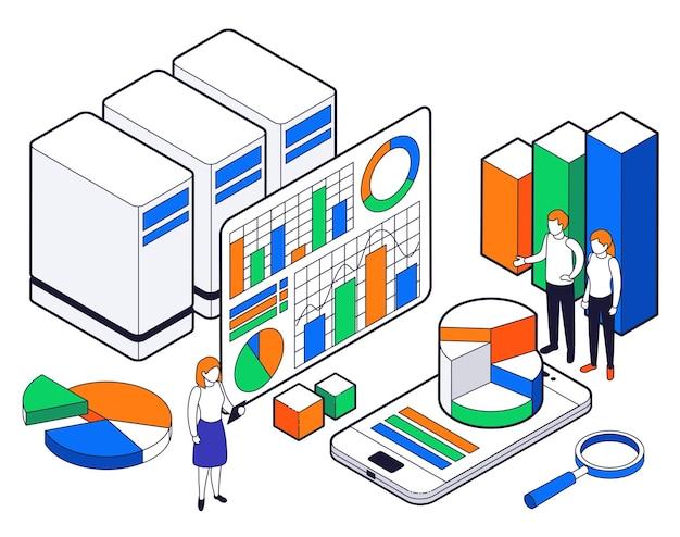 Composición isométrica de análisis de ciencia de big data con diagramas de gráficos y otra información analítica