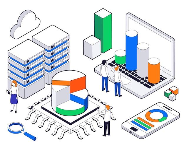Composición isométrica de análisis de ciencia de big data