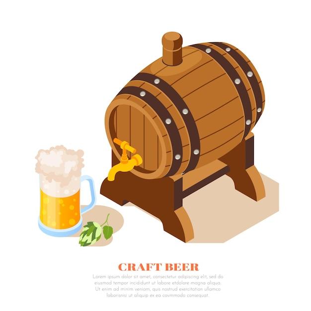 Composición isométrica del anuncio del pub de cerveza artesanal de la cervecería local con hojas de lúpulo de taza llena de barril de roble