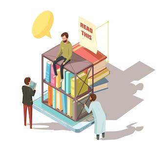 Composición isométrica de aprendizaje electrónico con estudiantes cerca de estantes con libros en la pantalla del dispositivo móvil