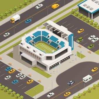 Composición isométrica del área del estadio deportivo