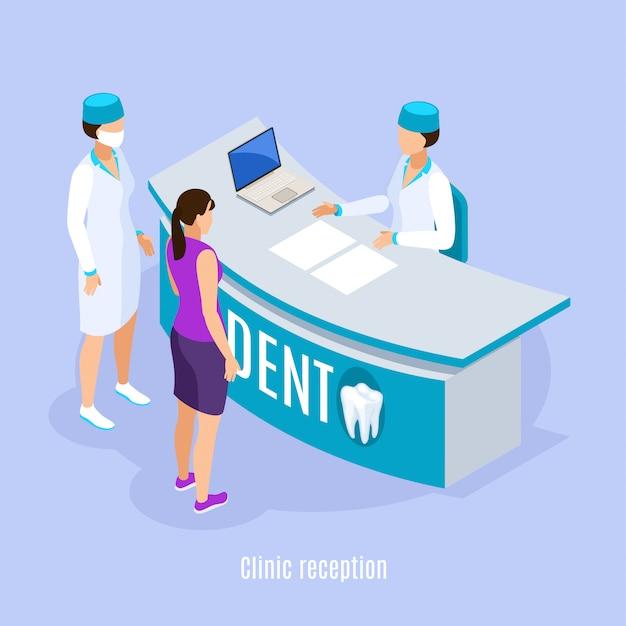 Composición isométrica del área de recepción de la clínica dental con el paciente y el asistente haciendo una cita fondo azul claro