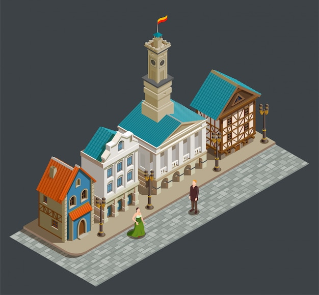 Composición isométrica de la arquitectura medieval