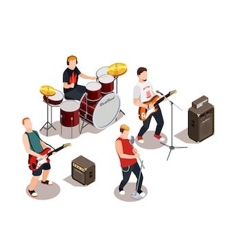 Composición isométrica de la banda de rock