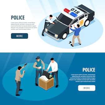 Composición isométrica de banner de policía con página de destino de oficiales