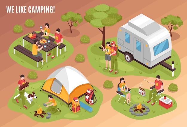 Composición isométrica de barbacoa de camping