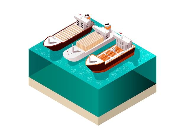 Composición isométrica de los barcos de carga