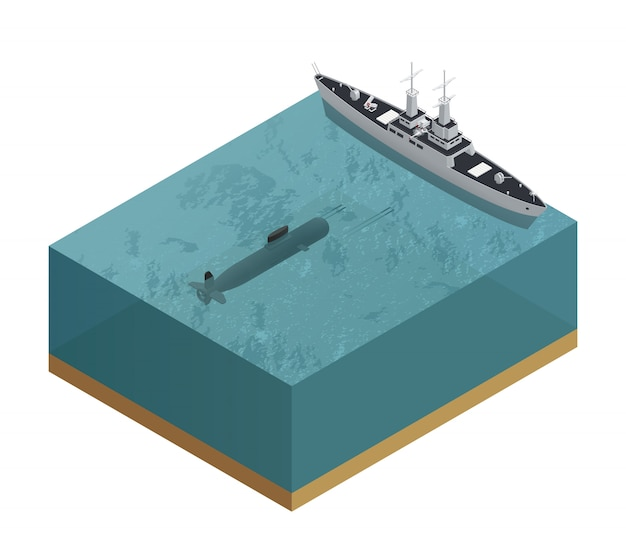 Composición isométrica de barcos militares 3d con trozo cortado de mar con un submarino y una ilustración de vector de barco