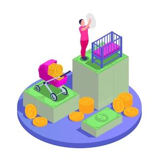 Composición isométrica de beneficios familiares de desempleo de la seguridad social con madre de plataforma circular con ilustración de iconos de niño y dinero