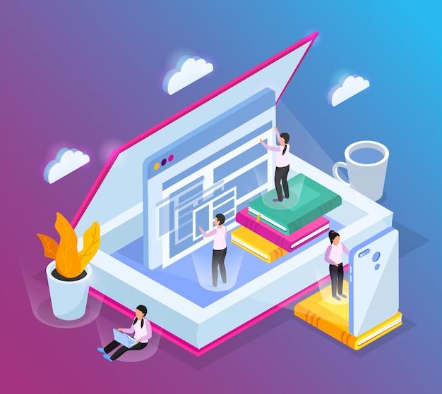 Composición isométrica de la biblioteca en línea con imágenes conceptuales de ventanas de computadora de libros abiertos y personajes de personas pequeñas