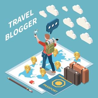 Composición isométrica con blogger de viajes, transmisión de video, pasaporte, suitacases, mapa del mundo 3d