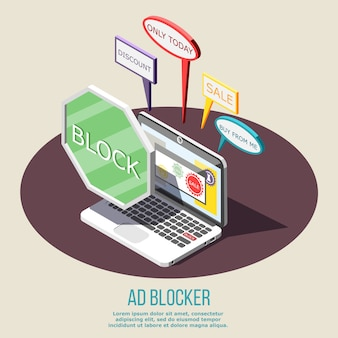 Composición isométrica de bloqueo de anuncios