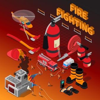 Composición isométrica del bombero