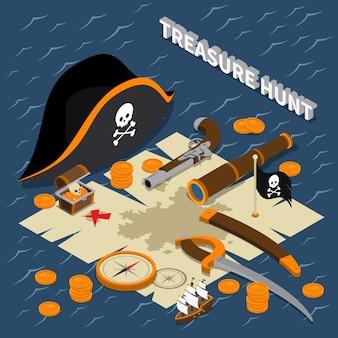 Composición isométrica de la búsqueda del tesoro
