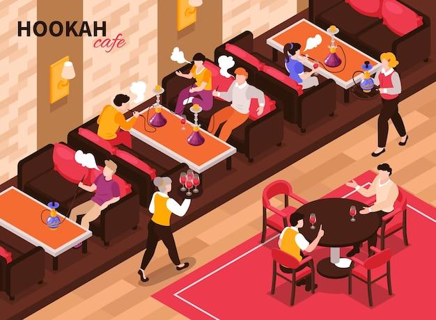 Composición isométrica del café de la cachimba con texto y vista interior del restaurante de tabaco con gente fumando sentada
