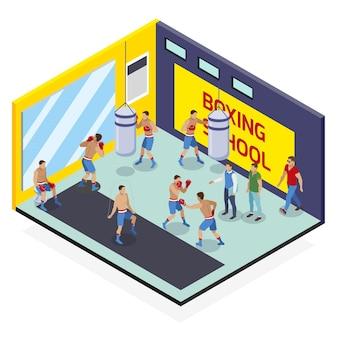 Composición isométrica de la caja con vista de la sala de ejercicios de la escuela de boxeo con personajes humanos y sacos de boxeo