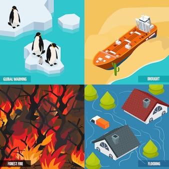 Composición isométrica del calentamiento climático