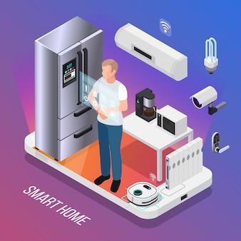 Composición isométrica de la cámara de seguridad de los electrodomésticos de cocina iot con el propietario que controla el refrigerador inteligente con ilustración de pantalla táctil