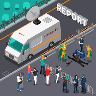 Composición isométrica del camarógrafo del fotógrafo con el automóvil con cámara fuera del vehículo de transmisión cerca del área acordonada con personas