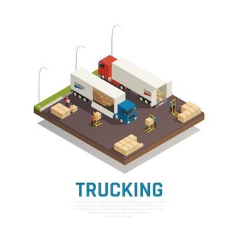 Composición isométrica de camiones con carga y embarque a vehículos pesados.