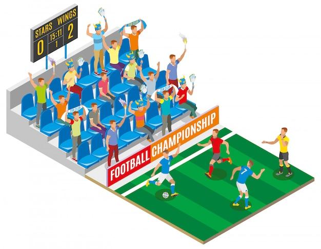 Composición isométrica del campeonato de fútbol con espectadores en los jugadores de la tribuna del estadio en el campo y el tablero con puntaje de partido