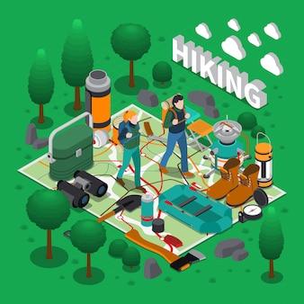 Composición isométrica de camping
