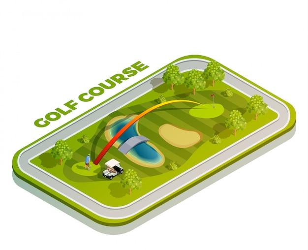 Composición isométrica del campo de golf