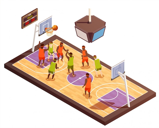 Composición isométrica de cancha de baloncesto