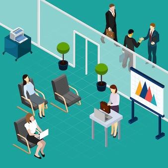 Composición isométrica de capacitación del personal de oficina con elementos de conferenciante y trabajadores en espera elementos interiores ilustración vectorial