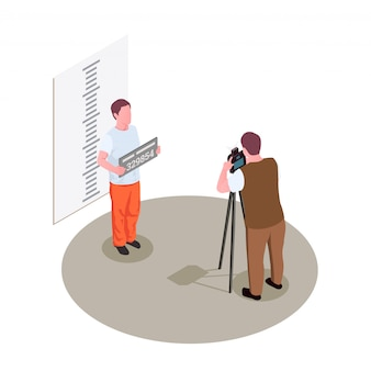Composición isométrica de la cárcel de la prisión con toma de la fotografía de la fotografía de la fotografía de la foto criminal arrestada