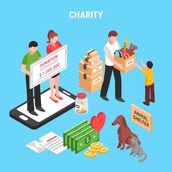 Composición isométrica de caridad con acciones de personas para apoyar el refugio de animales y la ilustración de vector de donación de niños