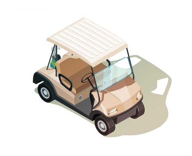 Composición isométrica del carrito de golf