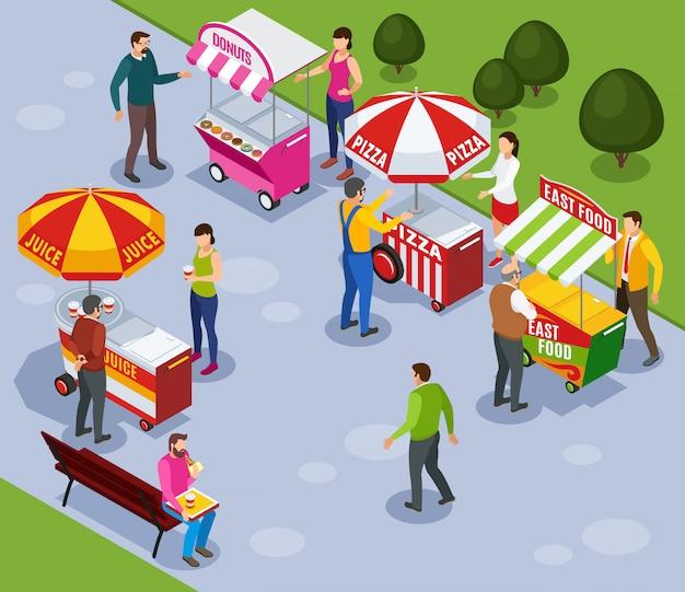 Composición isométrica de carros de venta ambulante con personas que compran comida rápida en la ilustración de vector de parque de la ciudad