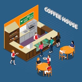 Composición isométrica de la casa de café