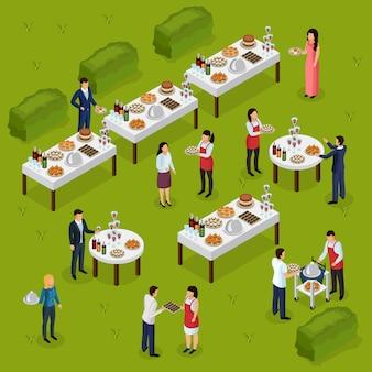 Composición isométrica de catering