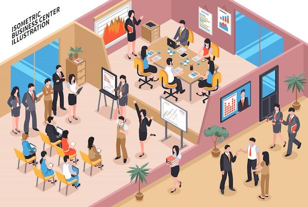 Composición isométrica del centro de negocios