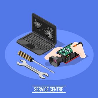 Composición isométrica del centro de servicio