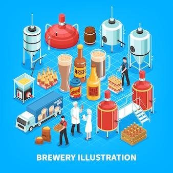 Composición isométrica de cervecería