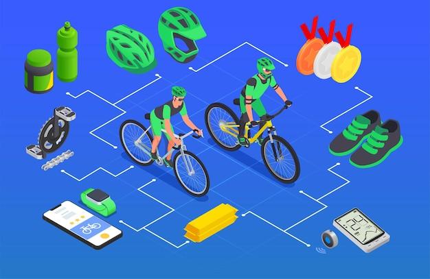 Composición isométrica de ciclismo deportivo.