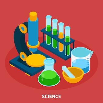 Composición isométrica de ciencia con símbolos de experimento sobre fondo rojo