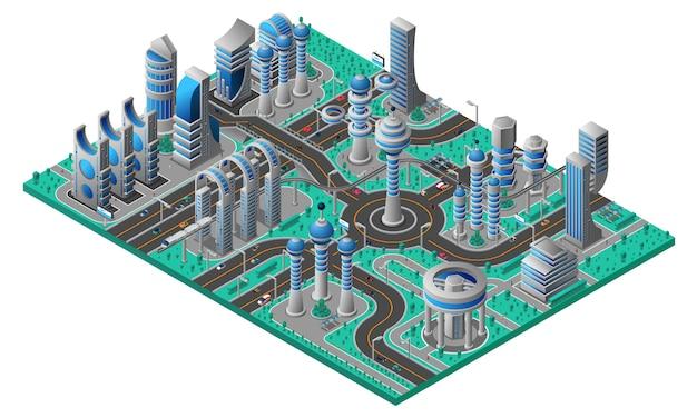 Composición isométrica de la ciudad futura